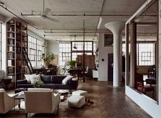 Designer Alina Preciado, fell in love with a run-down Brooklyn loft apartment. With her artistry, she transformed the loft apartment into a home to die for. Even though the transformation. Loft Industrial, Industrial Apartment, Industrial Interiors, Industrial Living, Industrial Decorating, Industrial Design, Industrial Furniture, Vintage Industrial, Industrial Bookshelf