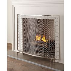 INTERLUDE Sabrina Fireplace Screen ($1,185) ❤ liked on Polyvore featuring home, home decor, fireplace accessories, silver and handmade home decor