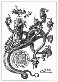 Whore of Babylon (Harlot) on seven-headed Beast with ten horns (and four crowns), raised cup and staff with 2 fingers up hand symbol. Heptagram and chart below