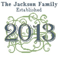 Custom Personalized Cross Stitch Pattern 2013 Scroll work Family Name Wonderful Wedding First anniversary Gift on Etsy, $6.95