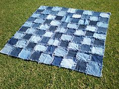 denim blanket back with flannel good way to use old jeans :)