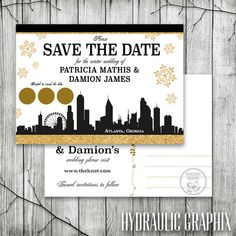 Atlanta Skyline Save the Date for Wedding by HydraulicGraphix, Atlanta Wedding, Wedding Ideas, Atlanta Wedding Ideas, Winter Wedding Ideas, My Wedding Day, My Winter Wedding, Scratch off Wedding Save the Date, City Skyline Invitation, My Wedding Invitation, Atlanta Winter Wedding