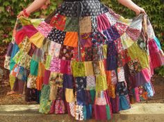 Women's plus size patchwork twirler skirt, ladies rainbow skirt, rainbow patchwork skirt, womens autumn skirt, festivals, ecofriendly, earth