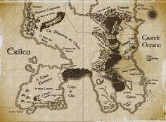 Mapa de Erilea, do livro original Throne of Glass, traduzido por May Tenório com base no livro em português Trono de vidro da Sarah J. Maas