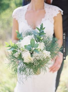 green wedding bouquet. love it with the lace dress. | VIA #WEDDINGPINS.NET