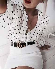 polka dot blouse outfit with Gucci belt Mode Outfits, Fashion Outfits, Womens Fashion, Fashion Trends, Office Outfits, Skirt Outfits, Fashion Clothes, Fashion Ideas, Fashion Tips