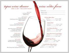 wine menu | Wine Menu Design - Tapas Wine Dinner