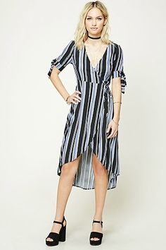 Striped Wrap-Front Midi Dress | FOREVER21 - 2000227459