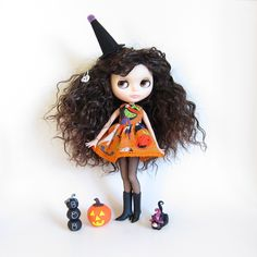 Blythe Halloween dress with green wicked witch