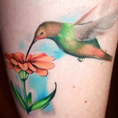 Hummingbird and flower thigh tattoo - 55 Amazing Hummingbird Tattoo Designs | Art and Design