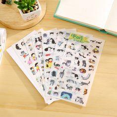 6 X 한국 문구 도매 귀여운 고양이 투명 배경 스티커 일기 장식 스티커 스크랩북 종이 일기 스티커