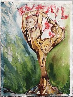 yoga tree watercolor painting female figure yoga by SunnyLeeStudio, $80.00