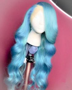 Blue Wigs Lace Hair Lace Frontal Wigs Lavender Wig Tinted Blue Hair An – eggplantral Rosé Hair, Lace Hair, Wig Styles, Curly Hair Styles, Natural Hair Styles, Weave Styles, Ombre Hair, Protective Styles, Lace Front Wigs
