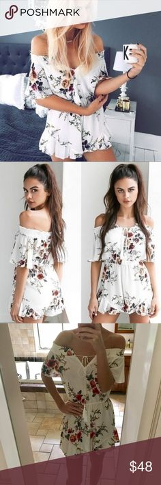 NWT off the shoulder floral romper *NOT FREE PEOPLE - tagged for exposure only* This is an exclusive private label sold only in boutiques. Fit is true to size. ❗️Price firm unless bundled❗️✈️ ships same or next day ✈️ Free People Pants Jumpsuits & Rompers