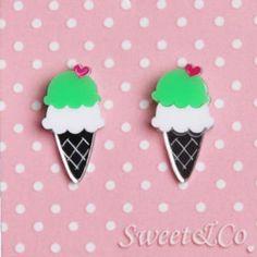 I love ice-cream mirror stud earrings