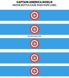 Download our FREE, Captain America Shield Printable for your next MARVEL's The Avengers party! This printable is perfect to wrap around standard-sized water or soda bottles, cupcakes, candy bars, cake push pops, you name it!