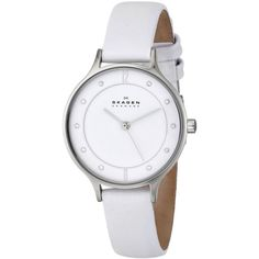 Skagen Women's Anita SKW2145 White Leather Quartz Watch (12.455 ISK) ❤ liked on Polyvore featuring jewelry, watches, white, leather watches, leather buckle bracelet, wide bracelet, buckle bracelet and quartz watches