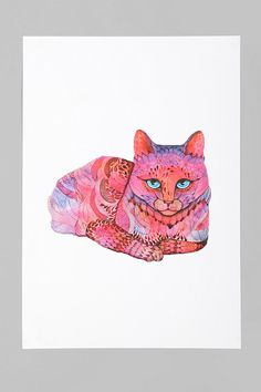Ola Liola For Society6 Sunset Cat Art Print  #UrbanOutfitters  Ooooh this would be really pretty in my room.