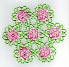 Tatted rose doily
