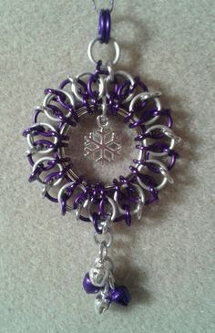 Chain Maille Christmas Ornament Snowflake & Jingle Bell , Bright Purple / Silver in Home, Furniture & DIY | eBay