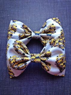 Despicable Me Minion crew  print handmade fabric bow tie or hair bow on Etsy, $6.00