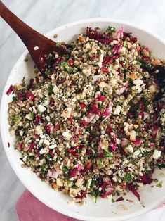 This Lentil and Barley Salad is a hearty and healthy grain salad—made with pomegranate, feta, and apples, and dressed with an Apple Cider Vinaigrette.