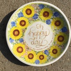 This hand painted grand platter is a functional piece of art as it is food safe ceramic. across deep 8 lbs. Hand Painted Ceramics, Happy Day, Platter, Safe Food, Decorative Plates, Art Pieces, Vibrant, Deep, Tableware