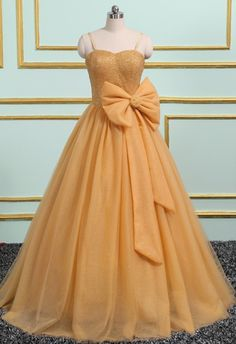 Gold Tulle Long Crystal Evening Dress, Sweet 16