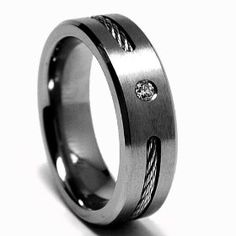 6 MM DIAMOND Titanium ring Wedding band with Stainless steel Cable Inlay size 12, (black titanium, mens rings)