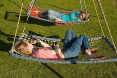 22 Simple & Creative Backyard Playground Ideas for Kids – natural playground ideas Diy Hammock, Backyard Hammock, Outdoor Hammock, Backyard Playground, Hammock Swing, Backyard For Kids, Playground Ideas, Garden Kids, Hammock Ideas