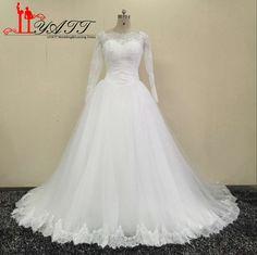 bbcb9e95cea Lace Appliques Wedding Dresses Long Sleeves 2017 Wedding Dressses
