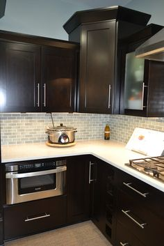find this pin and more on pictures - Kitchen Backsplash With Dark Cabinets