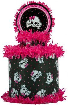 Pink and Black Skull Pinata