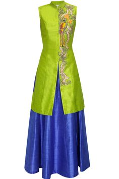 Lime green bird embroidered long achkan jacket with blue skirt lehenga available… Indian Suits, Indian Attire, Indian Dresses, Indian Wear, Punjabi Suits, Salwar Suits, Moda Indiana, Indian Fabric, Pakistani Outfits