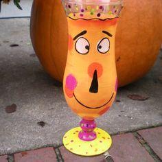 Hand painted halloween hurricane glasses set of 4