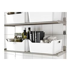 IKEA - VARIERA, Box, high gloss white, The box is easy to carry and take in and out of a drawer or shelf since it has two cut-out handles that make it comfortable to grip. Easy to clean, with soft rounded corners. Best Kitchen Cabinets, Kitchen Drawers, Ikea Kitchen, Ikea Variera, Box Ikea, Ikea Pantry, Rustic Closet, Drawer Dividers, Home Office Organization