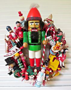 Image of Vintage German Nutcracker Christmas Wreath
