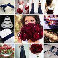 Wedding, Inspiration, Board, Navy, Cranberry