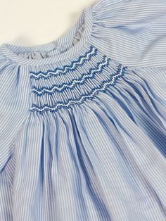 Vestido viella rayas azul y blanco bordado nido Belan - Ropa de bebés - Les bébés
