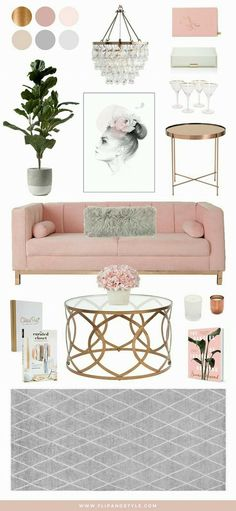 Blush Copper and Grey Home Decor Interior inspiration for a living room space interior design decor www flipandstyle com Living Room Grey, Interior Design Living Room, Living Room Decor, Bedroom Decor, Blush Grey Copper Living Rooms, Living Room Ideas Pink And Grey, Pink Living Rooms, Grey Room, Studio Interior