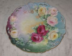 Antique Rosenthal Lion D'or Hand Painted Floral Reticulated China Plate