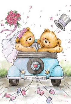 Wild Rose Studio Clear Stamp - Just Married Tatty Teddy, Cute Images, Cute Pictures, Urso Bear, Teddy Bear Pictures, Blue Nose Friends, Bear Graphic, Cute Teddy Bears, Penny Black