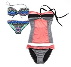 arizona bikini and colorblock tankini LOVE THE PINK AND GRAY