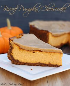 Biscoff Pumpkin Cheesecake.  A delicious pumpkin cheesecake with a Biscoff Cookie crust and a white chocolate biscoff ganache topping.  #cheesecake #dessert #pumpkin #biscoff
