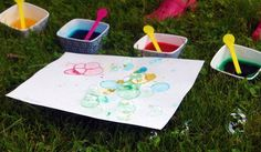 Beth Kruse Custom Creations: bubble party - mix dish soap, water and food coloring