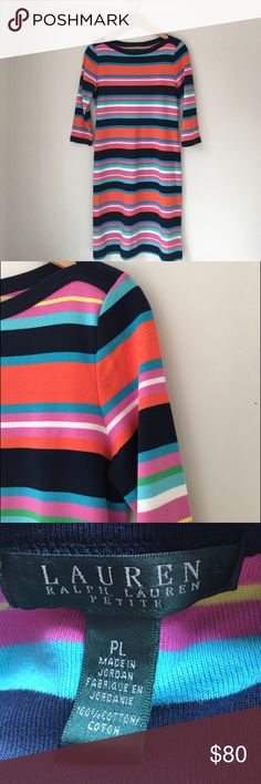 Ralph Lauren Striped Boatneck Dress Add a chic splash of colour to your winter wardrobe with this vibrant striped bodycon dress by Lauren Ralph Lauren. Made from the purest cotton, this three quarter sleeve dress is super soft and comfy while being stylish. (Belt NOT included). Size Petite Large. EUC. Lauren Ralph Lauren Dresses Midi