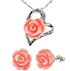 Red Coral Rose Heart Shaped Silver Pendant Necklace and Stud Earrings Set