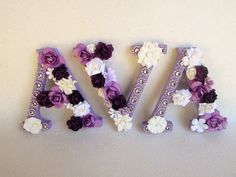 Custom name Ava - Floral name letter - Flower letter ava - Flower name letter - Nursery wall letters - Purple name ava - Purple letter - Wood Letters Baby Name Letters, Nursery Letters, Diy Letters, Letter A Crafts, Wooden Letters, Flower Letters, Flower Names, Wood Letters Decorated, Purple Names