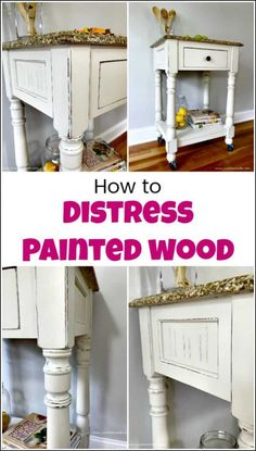 furniture display See how to distress painted wood for a farmhouse finish when you love distressed furniture. You can DIY your own distressed white furniture when distressing chalk paint with these simple steps. via justthewoods White Distressed Furniture, Distressed Furniture Painting, White Painted Furniture, Chalk Paint Furniture, Painting On Wood, How To Distress Furniture, Distress Wood, Diy Painting, Repainting Furniture