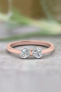 Heart Shaped Bow Anniversary Gifts with Diamonds in Rose Gold exclusively. - Future - 2 Heart Shaped Bow Anniversary Gifts with Diamonds in Rose Gold exclusively. Cute Rings, Pretty Rings, Beautiful Rings, Bow Rings, Simple Rings, Simple Rose, Unique Rings, Beautiful Ladies, Cute Jewelry